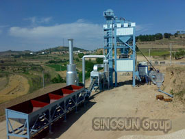 SINOSUN asphalt batch mix plant on site